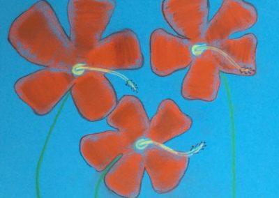 """Kemar Ellis   """"Hibiscus""""  pastel on paper"""