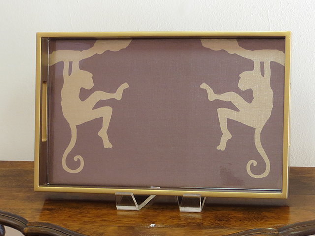 "J.R. Sanders   ""Mirrored Monkeys""  This serving tray is handprinted wood featuring a designer print protected under a thick layer of hand poured epoxy resin"