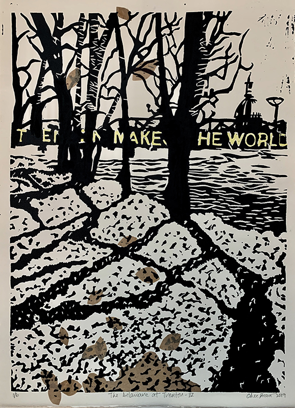 """Chee Bravo """"The Delaware at Trenton IV"""" Lino print with collage"""