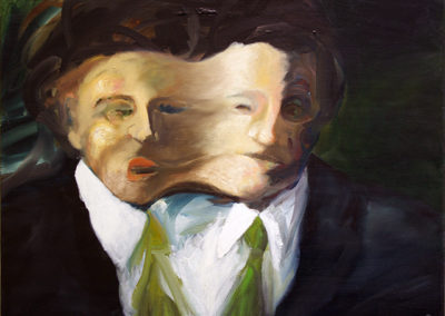 "Frederic Carpenter ""Doubled Up"" oil on canvas"