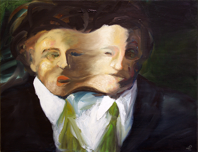 """Frederic Carpenter """"Doubled Up"""" oil on canvas"""