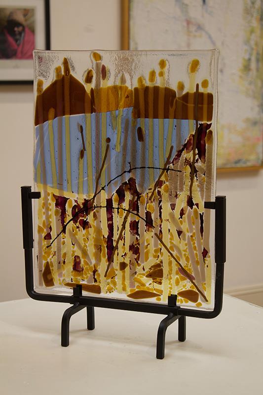 "Ellen Rebarber ""Transformation"" glass sculpture, iridescent fused glass on metal base"