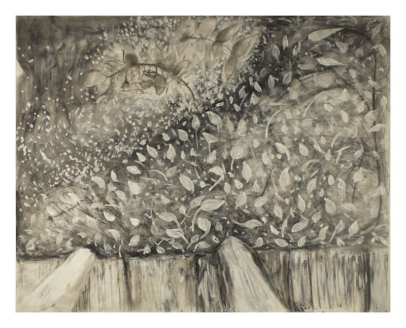 "Shannon DeAngelis  ""View of the Garden""  charcoal and acrylic paint on paper"