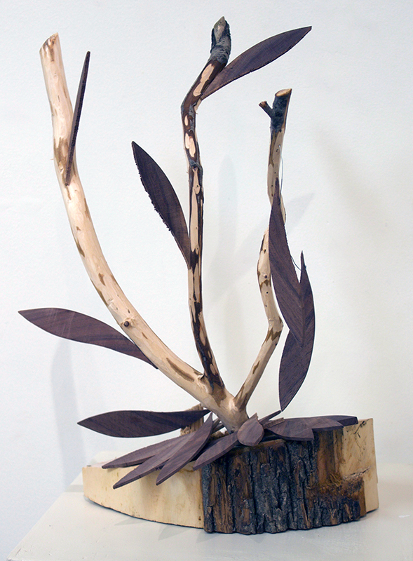 """Phil George """"First Frost, Cold Wind, Falling Leaves"""" sculpture, Ash, Boxwood, Walnut"""
