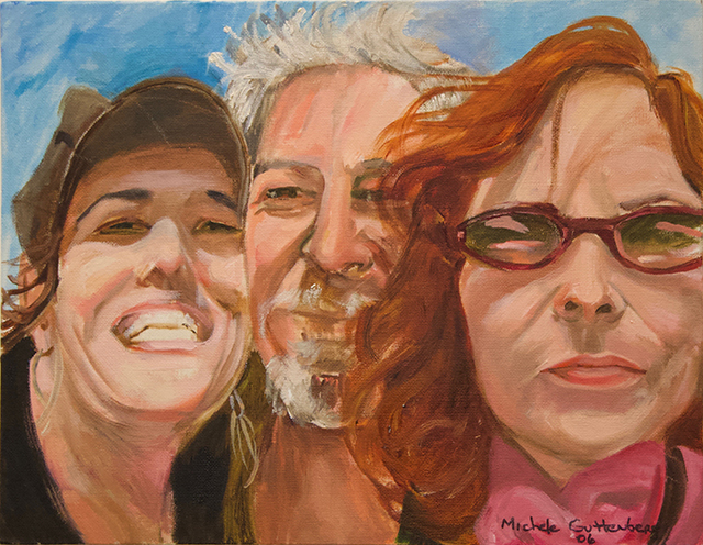 "Michele Guttenberg ""Neil, Michele and Pam in San Francisco""  oil on canvas"