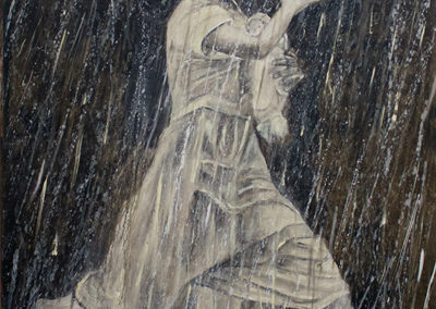"Michele Guttenberg ""Running in the Rain""  oil on canvas"