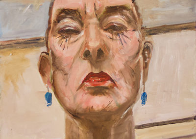 "Michele Guttenberg ""Self Portrait""  oil on wood"