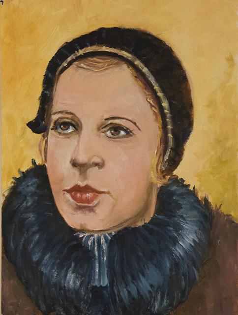 """Michele Guttenberg """"My Mother""""   oil on canvas board"""