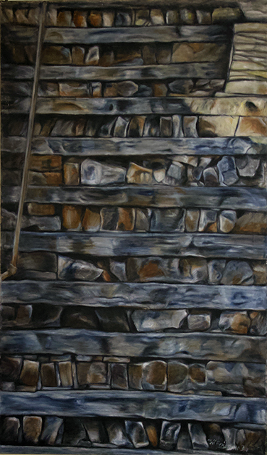 """Neil Besignano """"Artist and Teacher, Jeannie Meisels's Front Steps"""" oil on canvas"""