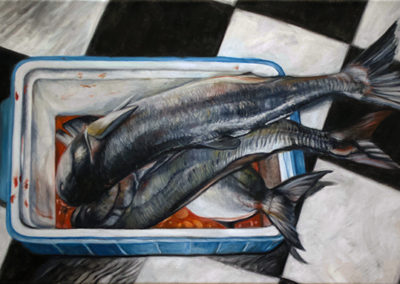 "Neil Besignano ""Bela's Catch"" oil on canvas"