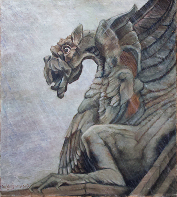 "Neil Besignano ""Gargoyle"" oil on canvas"