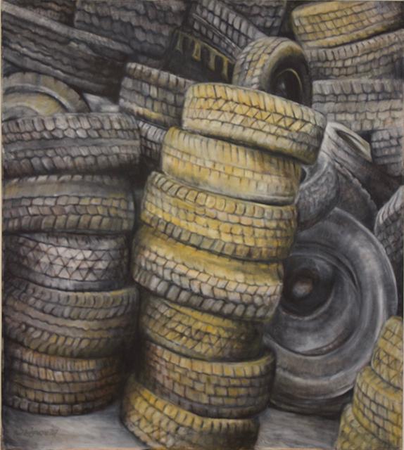 "Neil Besignano ""Richmond Terrace Under The Bayonne Bridge""  oil on canvas"
