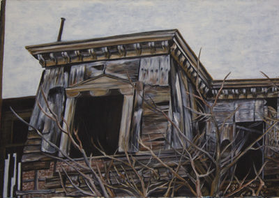 "Neil Besignano ""Town Hall, Demolished New Brighton, Staten Island, NY"" oil on canvas,  41"" w, x 28"" H"