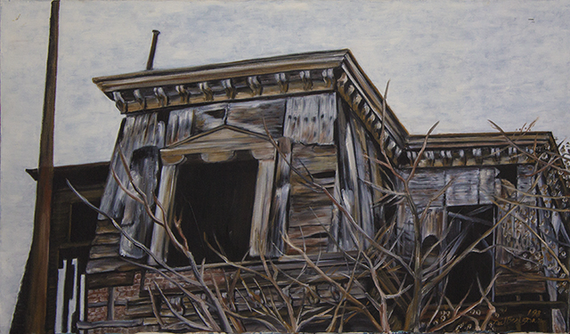 "Neil Besignano ""Town Hall, New Brighton, S.I., Demolished"" oil on canvas"