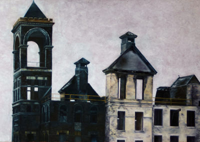 "Neil Besignano ""After A Fire, Port Richmond, S.I.""   oil on canvas"