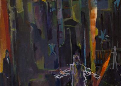 """""""Murder Mystery"""", created 2020, acrylics on canvas, 35″ x 26″"""