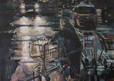 """Night Shopper"", created 2015, acrylics on hardboard, 30″ x 24″"
