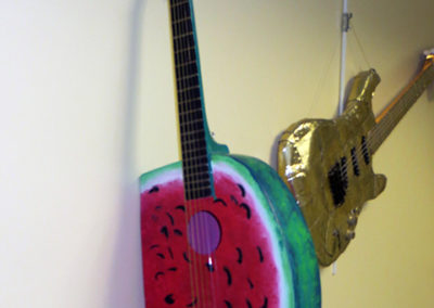 Watermelon Guitar – found guitar, wood, paint