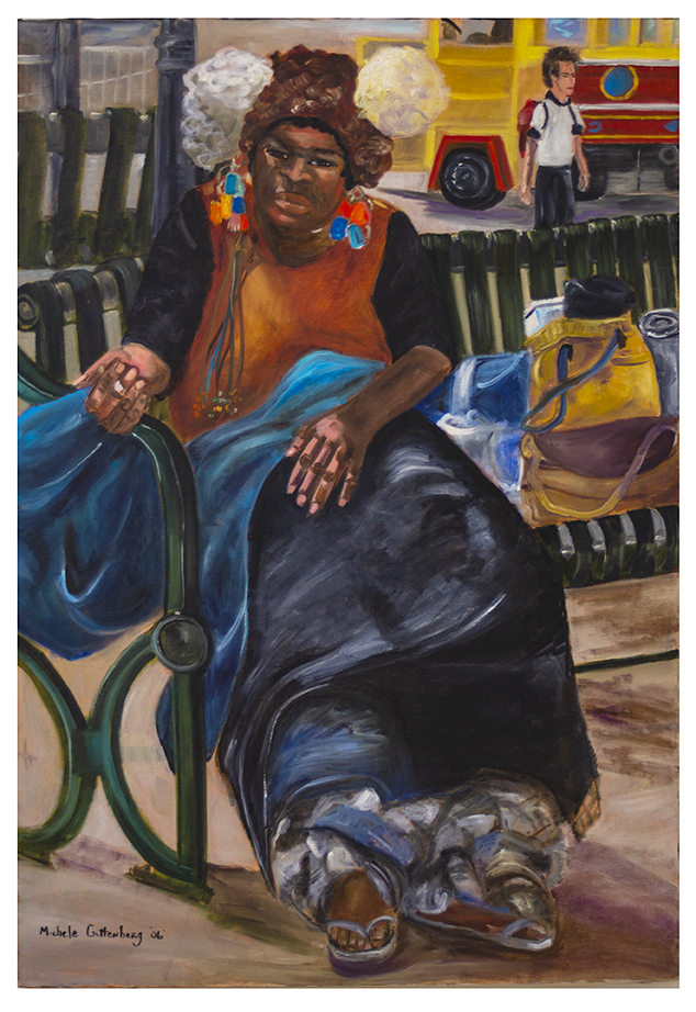 "Michele Guttenberg ""Homeless in San Francisco"" oil on canvas, 27"" W x 39"" H, 2006"