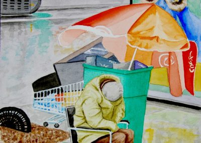 "Robert Lowe –  ""Homeless in Paris"" watercolor, 20"" H x 16"" W, 2019"