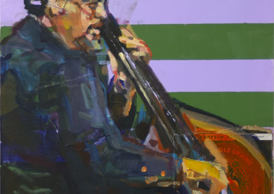 """""""Mingus"""" – created 2020, mixed media – collage and acrylics on cradled panel, 20″ x 16″ – $275.00"""