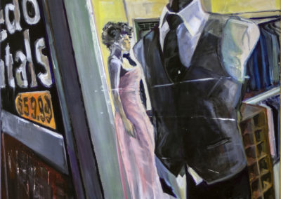 """""""The Corner of Suits and Dolls"""" – created 2019, acrylic painting on canvas, 24″ x 30″ – $325.00"""