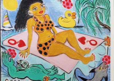 """Serene Brunette Surfer"" 2007 Richard Gessner SOLD in collection of Nicholas Homyak"
