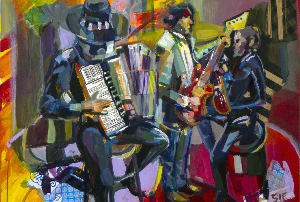 """""""The Band Played On"""" 24″ x 30″ mixed media on cradleboard"""