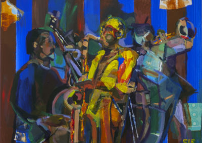 """Three Musicians"" 18″ x 24″  mixed media on cradleboard"