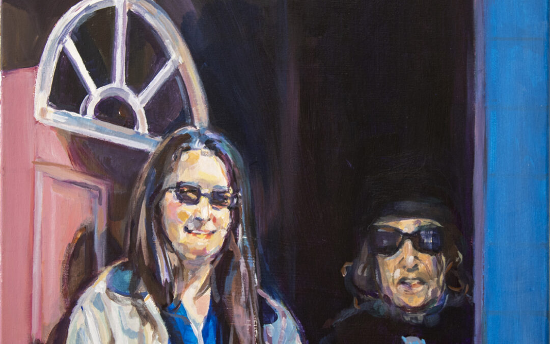 """"""" Mom and Joan with Dark Glasses"""" 18″ x 24″ – acrylic on canvas"""