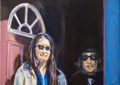 """ Mom and Joan with Dark Glasses"" 18″ x 24″ – acrylic on canvas"