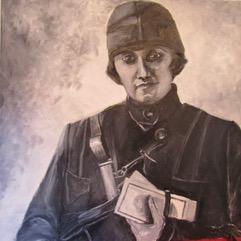 """Michele Guttenberg """"Postal Worker 1920's"""", oil on canvas, $100.00"""