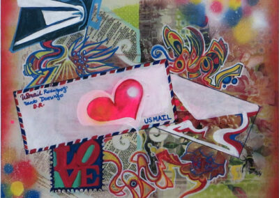 """Shauna Figueroa  """"Save The Post Office"""" acrylic and aerosol on recycled canvas, $1,000.00"""