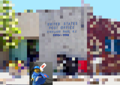 """Bill Bonner """"Mailman Carries Bag With Love Letters"""" digital photo and Lego character, $50.00"""