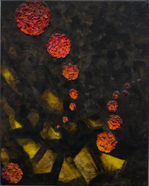 """Irene Riegner """"Living While Under Attack By Alien Covids"""", acrylic, spackle,  16"""" W x 20""""H, 2020-21, $75.00"""