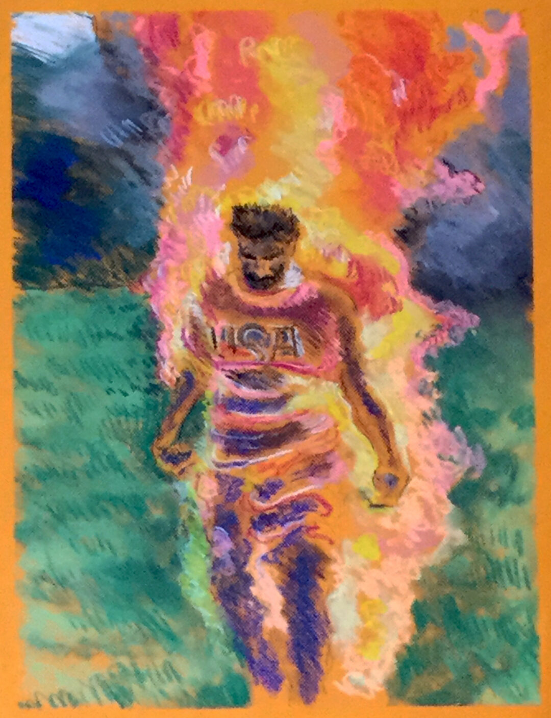 "Brian McCormack  ""Burning Man"" pastel on pastel paper, framed size 23 ""W x 35 ""H, 2020, $300.00"