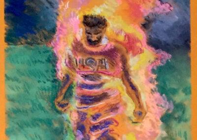 "Brian McCormack  ""Burning Man"" pastel on pastel paper, framed size 23 ""W x 35 ""H, 2020, $300.00"