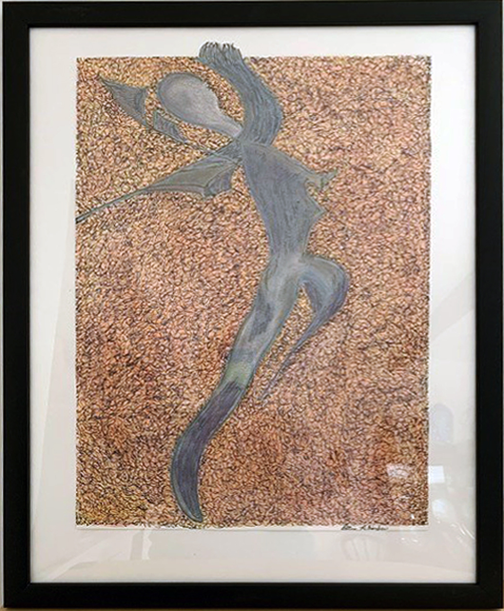 "Ellen Rebarber ""Out of the Shadow"" oil pastel, ink, paint, framed size 18"" W x 24""H, $300.00"