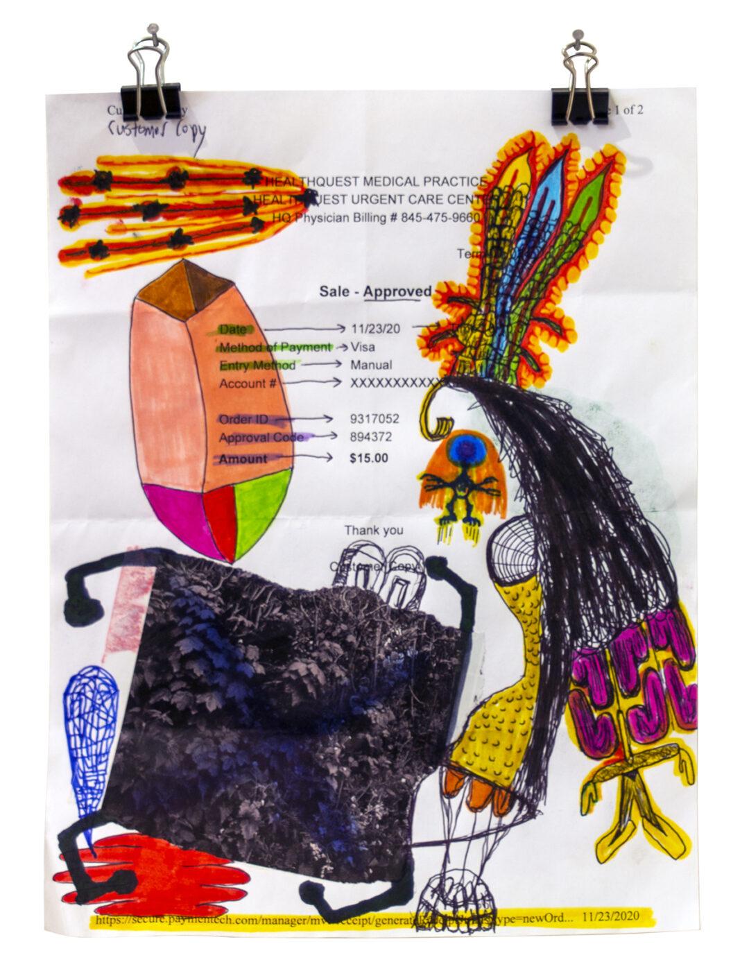"James Marshall Porter, Jr. ""Customer Copy"", mixed media drawing on paper, 8.5"" x 11,"" 2020, $125.00"