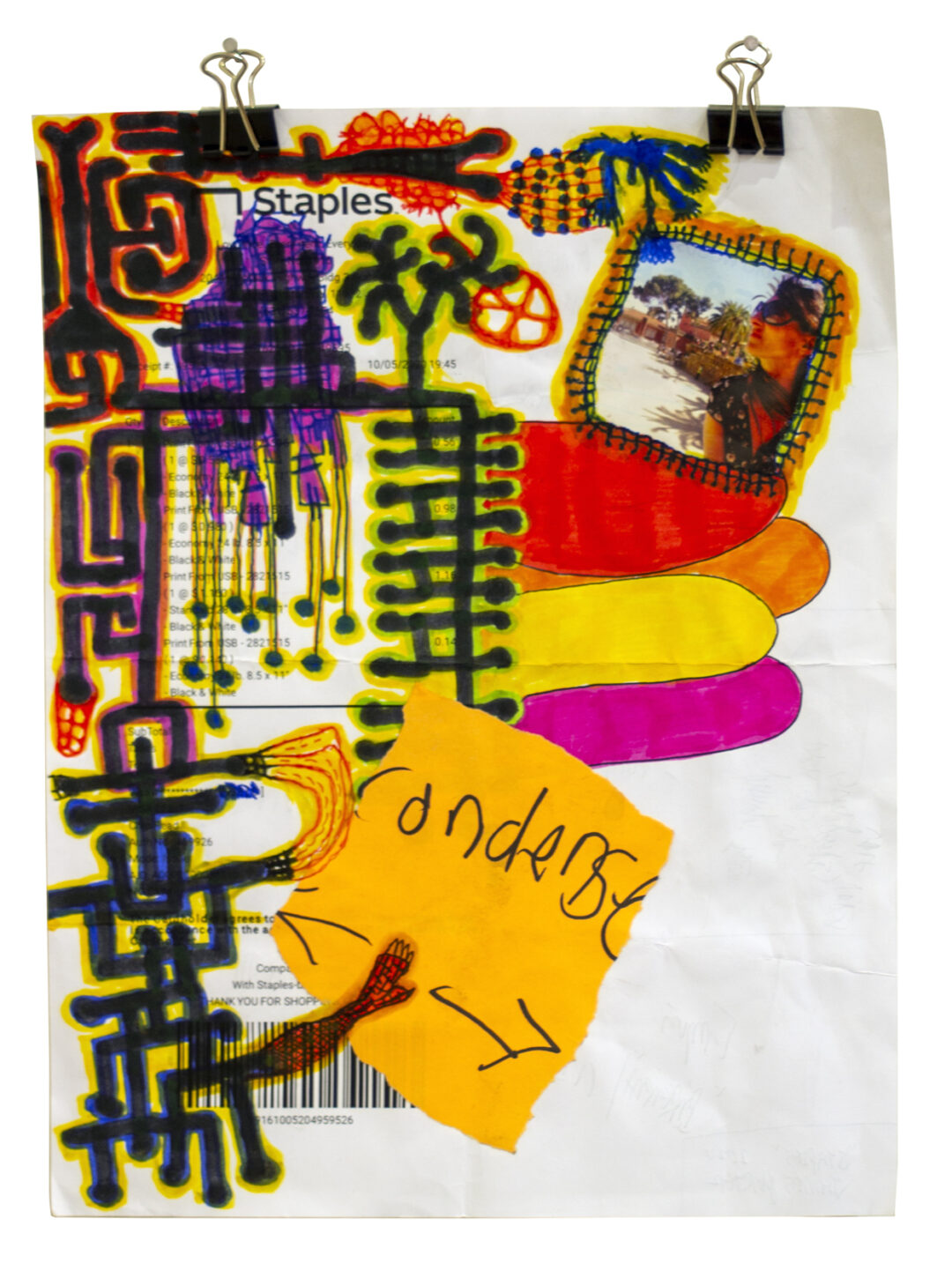 """James Marshall Porter """"Staples"""", mixed media drawing on paper, 8.5"""" x 11,"""" 2020, $125.00"""