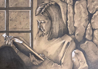 """Sandy Furst """"Shelter""""– charcoal and chalk on paper, framed 24"""" H x 30 W"""", 2020, $350.00"""