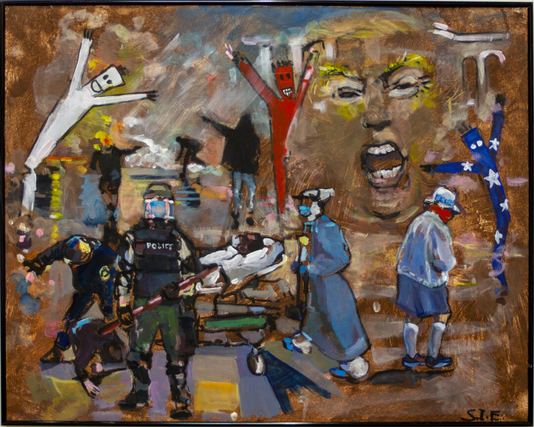 """Steven Epstein """"America 2020 Vision"""" acrylic and Pen Brush,  24""""H  x 30""""W 2020 $250.00"""