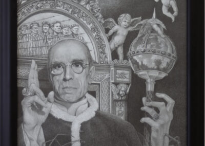 """Bill Ross """"Hitler's Pope"""" graphite and chalk on toned paper, 30""""H x 24"""" –  $850.00"""