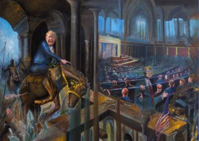 """Edward Jean Baptiste """"Draining The Swamp II"""", acrylic on canvas,  48″ X 60″ – $10,830.00"""