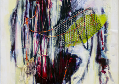 """Kathleen Hurley Liao  """"Broken Heart Surgery"""", acrylic, iodine, medical tape, steel mesh, found wire, muslin and graphite, 24"""" H x  20W"""" – $500.00"""