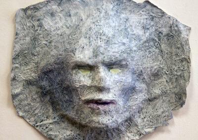 "Robert Kosinski ""Untitled Relief  (gray)"", Papier-mâché, toilet tissue, PVA adhesive, acrylic & gouache, 13""H x 16"" W x 4""D –  $350.00"