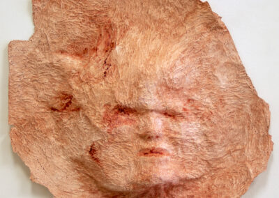 "Robert Kosinski ""Untitled Relief (pink), Papier-mâché, toilet tissue, PVA adhesive, acrylic, 15""H x 18""W x 2½""D  –  $350.00"