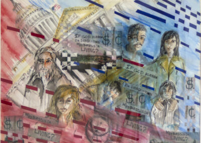 """Virginia Carroll  """"Who Will Answer?"""" watercolor, collage paper weaving, 25"""" H x 31"""" W – $450.00"""