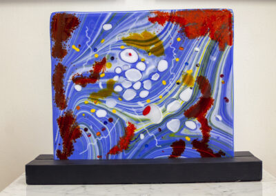 "Ellen Rebarber ""Imagined Galaxy"" fused glass on wood base, $1,600.00"