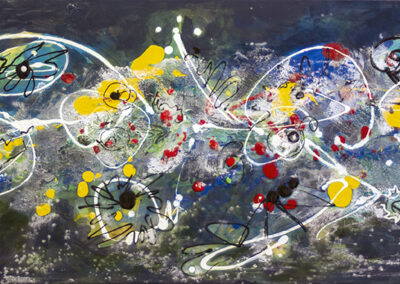 """Laura Spector """"Aliens and Space Explosions"""" acrylic on canvas, $300.00"""